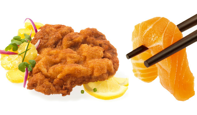 A picture shows Wienerschnitzel and Sushi