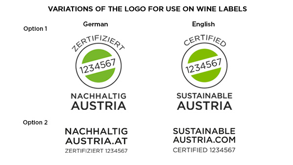 "The picture shows the logos ""Sustainable Austria"", © Austrian Winegrowers Association"