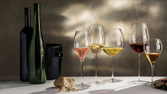 A picture shows different styles of wines