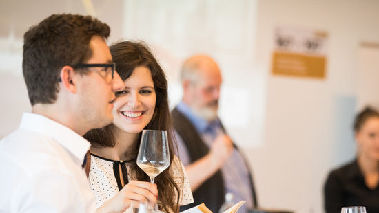 A picture shows guests tasting austrian wine