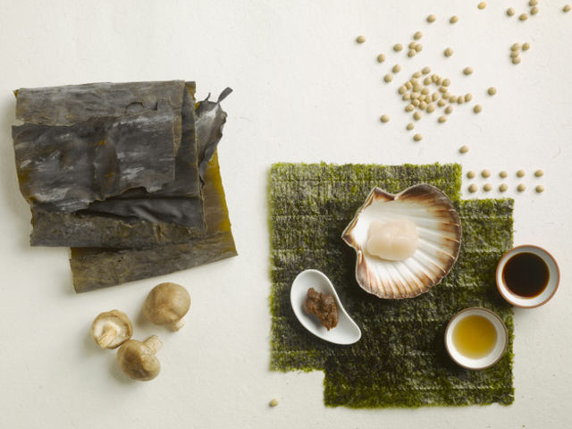 Shells, Nori Seaweed Sheet and sauce on white background.