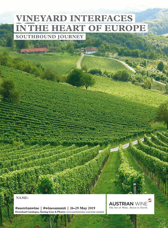 The picture shows the cover of the tasting list of the Southbound Journey, which features a picture of vineyards.