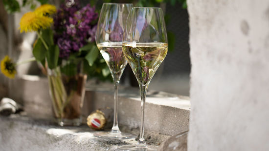 Two glasses of Austrian sparkling wine standing on the top of a wall