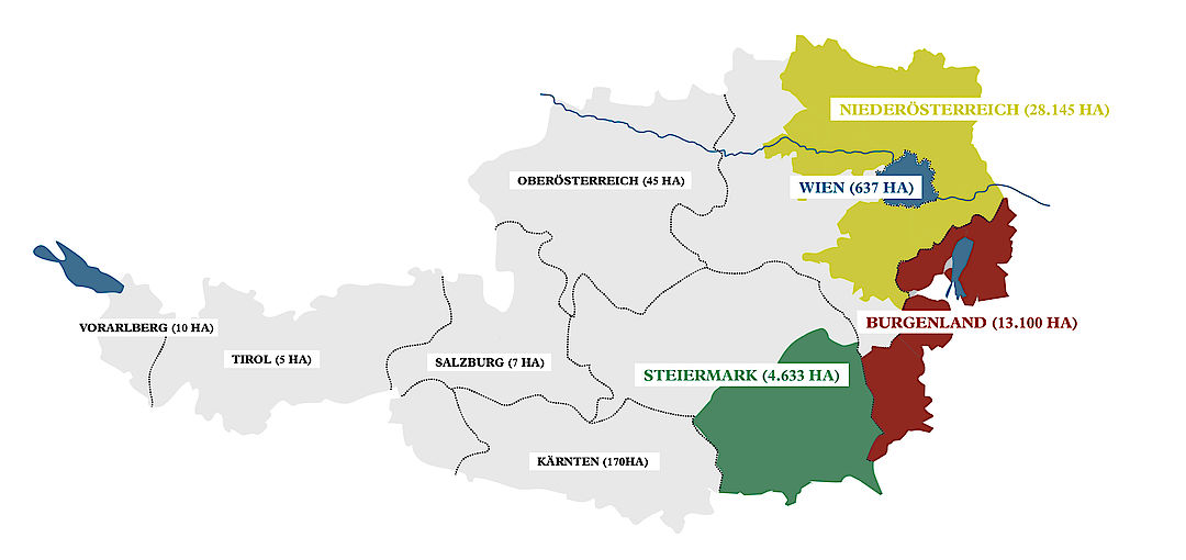 A picture shows Generic Winegrowing regions of Austria