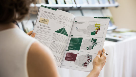 "A picture shows two pages of the brochure ""Austrian Wine in Depth"", © AWMB/Anna Stöcher"