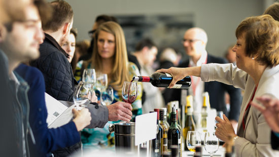 Here you can see guests tasting wines at an Austrian Tasting